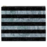 STRIPES2 BLACK MARBLE & ICE CRYSTALS Cosmetic Bag (XXXL)
