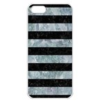 STRIPES2 BLACK MARBLE & ICE CRYSTALS Apple iPhone 5 Seamless Case (White)