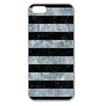 STRIPES2 BLACK MARBLE & ICE CRYSTALS Apple Seamless iPhone 5 Case (Clear)