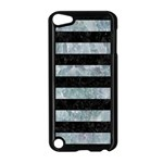 STRIPES2 BLACK MARBLE & ICE CRYSTALS Apple iPod Touch 5 Case (Black)