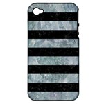 STRIPES2 BLACK MARBLE & ICE CRYSTALS Apple iPhone 4/4S Hardshell Case (PC+Silicone)