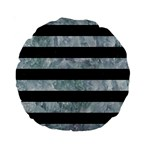STRIPES2 BLACK MARBLE & ICE CRYSTALS Standard 15  Premium Round Cushions