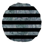 STRIPES2 BLACK MARBLE & ICE CRYSTALS Large 18  Premium Round Cushions