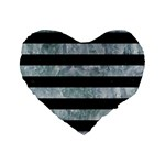 STRIPES2 BLACK MARBLE & ICE CRYSTALS Standard 16  Premium Heart Shape Cushions