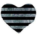 STRIPES2 BLACK MARBLE & ICE CRYSTALS Large 19  Premium Heart Shape Cushions