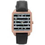 STRIPES2 BLACK MARBLE & ICE CRYSTALS Rose Gold Leather Watch
