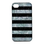 STRIPES2 BLACK MARBLE & ICE CRYSTALS Apple iPhone 4/4S Hardshell Case with Stand