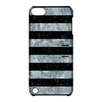 STRIPES2 BLACK MARBLE & ICE CRYSTALS Apple iPod Touch 5 Hardshell Case with Stand