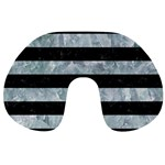 STRIPES2 BLACK MARBLE & ICE CRYSTALS Travel Neck Pillows