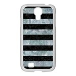 STRIPES2 BLACK MARBLE & ICE CRYSTALS Samsung GALAXY S4 I9500/ I9505 Case (White)