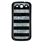 STRIPES2 BLACK MARBLE & ICE CRYSTALS Samsung Galaxy S3 Back Case (Black)