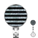 STRIPES2 BLACK MARBLE & ICE CRYSTALS Stainless Steel Nurses Watch