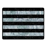 STRIPES2 BLACK MARBLE & ICE CRYSTALS Double Sided Fleece Blanket (Small)