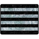 STRIPES2 BLACK MARBLE & ICE CRYSTALS Double Sided Fleece Blanket (Medium)