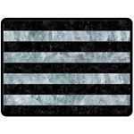 STRIPES2 BLACK MARBLE & ICE CRYSTALS Double Sided Fleece Blanket (Large)