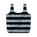 STRIPES2 BLACK MARBLE & ICE CRYSTALS Full Print Recycle Bags (M)
