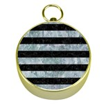 STRIPES2 BLACK MARBLE & ICE CRYSTALS Gold Compasses