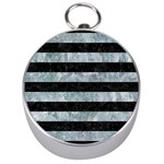 STRIPES2 BLACK MARBLE & ICE CRYSTALS Silver Compasses