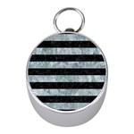 STRIPES2 BLACK MARBLE & ICE CRYSTALS Mini Silver Compasses