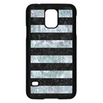 STRIPES2 BLACK MARBLE & ICE CRYSTALS Samsung Galaxy S5 Case (Black)