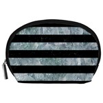 STRIPES2 BLACK MARBLE & ICE CRYSTALS Accessory Pouches (Large)
