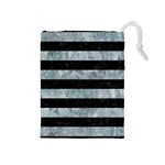 STRIPES2 BLACK MARBLE & ICE CRYSTALS Drawstring Pouches (Medium)