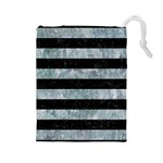 STRIPES2 BLACK MARBLE & ICE CRYSTALS Drawstring Pouches (Large)