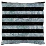STRIPES2 BLACK MARBLE & ICE CRYSTALS Large Flano Cushion Case (One Side)
