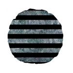 STRIPES2 BLACK MARBLE & ICE CRYSTALS Standard 15  Premium Flano Round Cushions