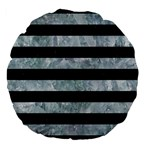 STRIPES2 BLACK MARBLE & ICE CRYSTALS Large 18  Premium Flano Round Cushions