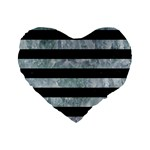 STRIPES2 BLACK MARBLE & ICE CRYSTALS Standard 16  Premium Flano Heart Shape Cushions