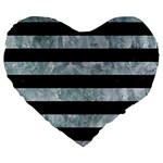 STRIPES2 BLACK MARBLE & ICE CRYSTALS Large 19  Premium Flano Heart Shape Cushions