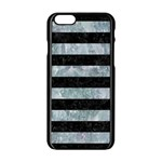 STRIPES2 BLACK MARBLE & ICE CRYSTALS Apple iPhone 6/6S Black Enamel Case