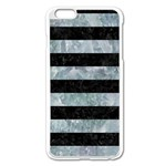 STRIPES2 BLACK MARBLE & ICE CRYSTALS Apple iPhone 6 Plus/6S Plus Enamel White Case