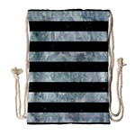 STRIPES2 BLACK MARBLE & ICE CRYSTALS Drawstring Bag (Large)