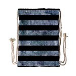 STRIPES2 BLACK MARBLE & ICE CRYSTALS Drawstring Bag (Small)