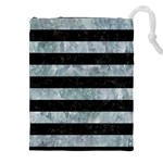STRIPES2 BLACK MARBLE & ICE CRYSTALS Drawstring Pouches (XXL)
