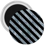 STRIPES3 BLACK MARBLE & ICE CRYSTALS 3  Magnets