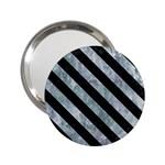 STRIPES3 BLACK MARBLE & ICE CRYSTALS 2.25  Handbag Mirrors