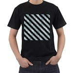 STRIPES3 BLACK MARBLE & ICE CRYSTALS Men s T-Shirt (Black) (Two Sided)
