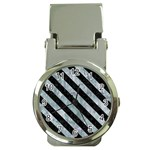 STRIPES3 BLACK MARBLE & ICE CRYSTALS Money Clip Watches