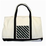STRIPES3 BLACK MARBLE & ICE CRYSTALS Two Tone Tote Bag