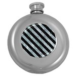 STRIPES3 BLACK MARBLE & ICE CRYSTALS Round Hip Flask (5 oz)