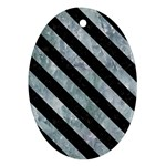 STRIPES3 BLACK MARBLE & ICE CRYSTALS Oval Ornament (Two Sides)