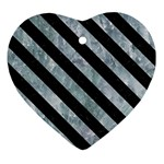 STRIPES3 BLACK MARBLE & ICE CRYSTALS Heart Ornament (Two Sides)