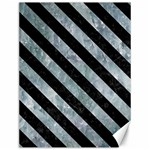 STRIPES3 BLACK MARBLE & ICE CRYSTALS Canvas 12  x 16