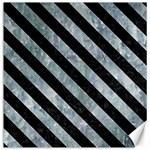 STRIPES3 BLACK MARBLE & ICE CRYSTALS Canvas 16  x 16