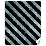STRIPES3 BLACK MARBLE & ICE CRYSTALS Canvas 16  x 20
