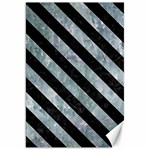 STRIPES3 BLACK MARBLE & ICE CRYSTALS Canvas 20  x 30