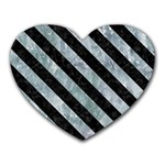 STRIPES3 BLACK MARBLE & ICE CRYSTALS Heart Mousepads